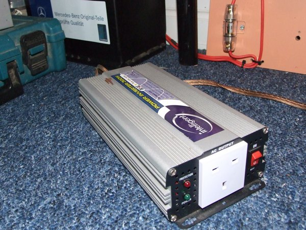 A 300w pure sine wave inverter, with battery in background