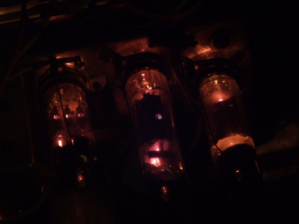 Radio valves glowing in an old Bush receiver