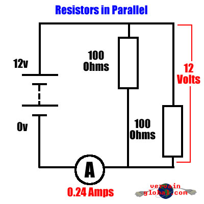 A diagram showing the effect on two resistors wired in parallel