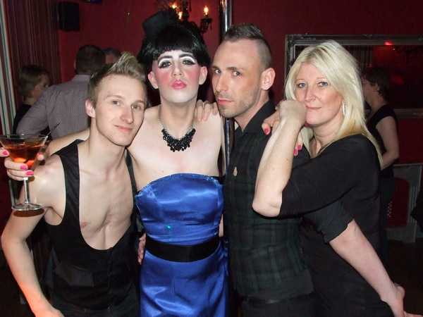 Guest drag. From left to right, Tom, Tess Tickles, Coady and Michele