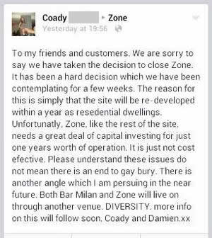 The Facebook post announcing Zone's closure