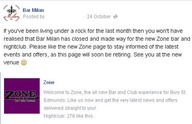 Bar Milan's Facebook page, advising to like the new Zone page